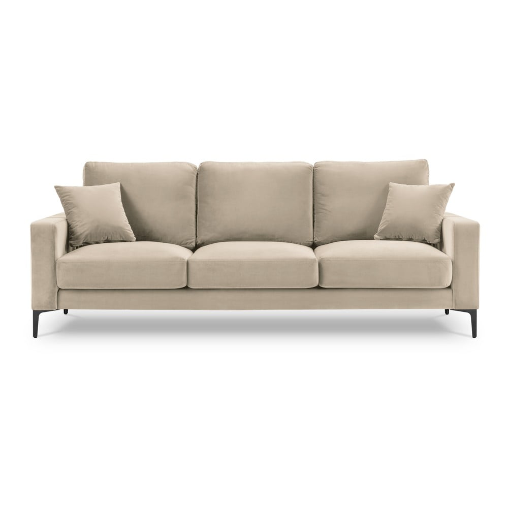 Beżowa aksamitna sofa Kooko Home Harmony, 220 cm