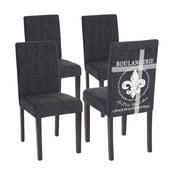 Komplet 4 antracytowych krzeseł do jadalni Mendler Patisserie