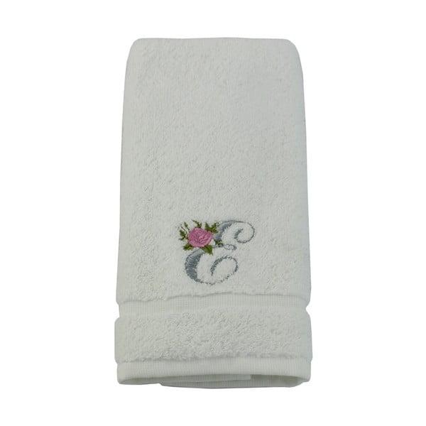 Ręcznik z inicjałem i różyczką E, 30x50 cm