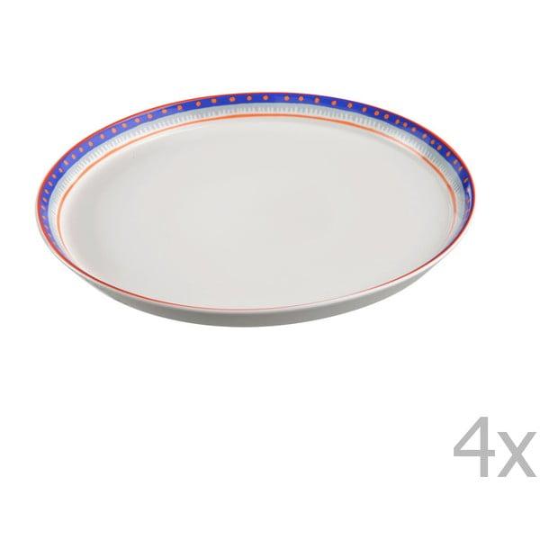 Komplet 4 talerzy porcelanowych na pizzę Oilily 31 cm, niebieski