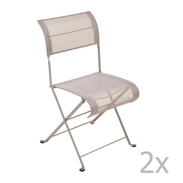 Zestaw 2 jasnobeżowych krzeseł składanych Fermob Dune