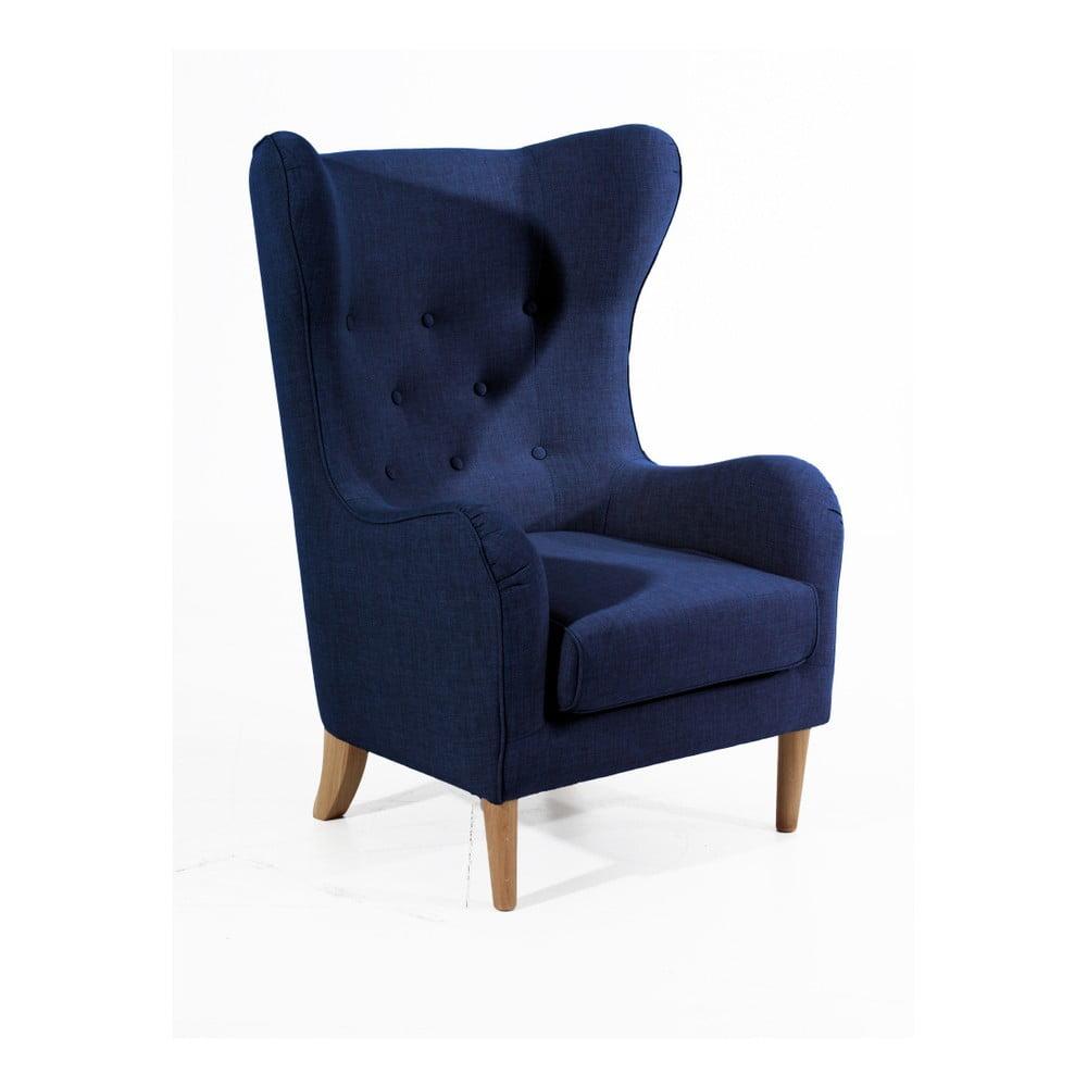 Ciemnoniebieski fotel Max Winzer Miriam Linen