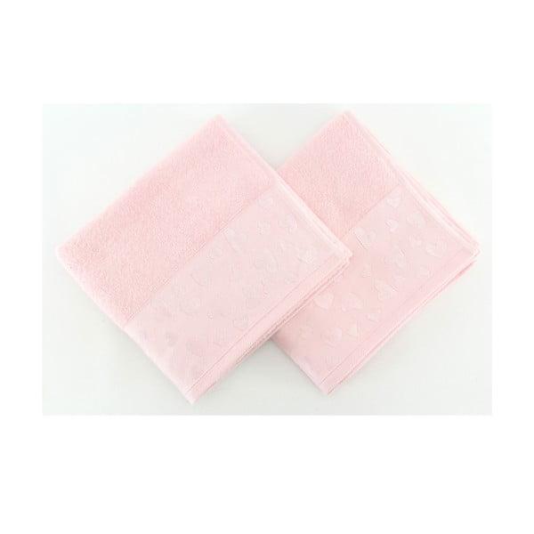 Komplet 2 ręczników Kalp Pink, 50x90 cm
