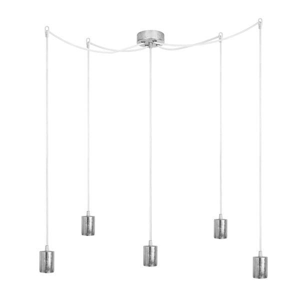 Lampa wisząca Cero, 5 rozłożystych kabli, srebrny/biały/srebrny