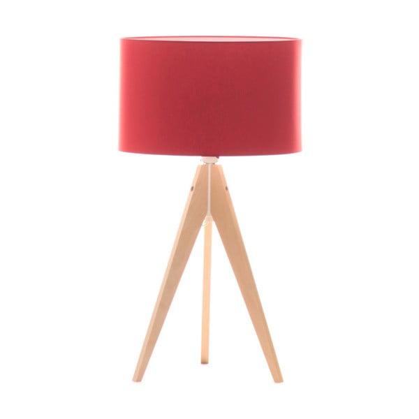 Czerwona lampa stołowa 4room Artist, brzoza, Ø 33 cm