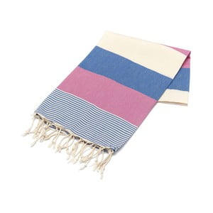 Różowo-Niebieski ręcznik Hammam Amerikan, 100x180cm