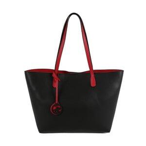 Czarno-czerwona   torebka ze skóry ekologicznej Beverly Hills Polo Club Daniela