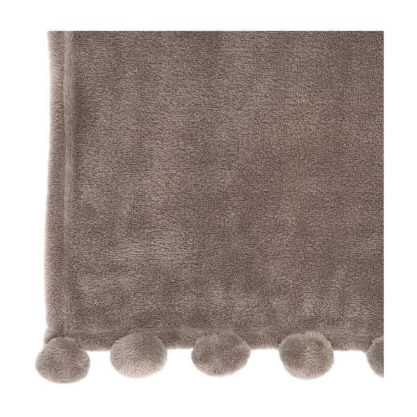 Koc PomPom 127x152 cm, popielato-brązowy