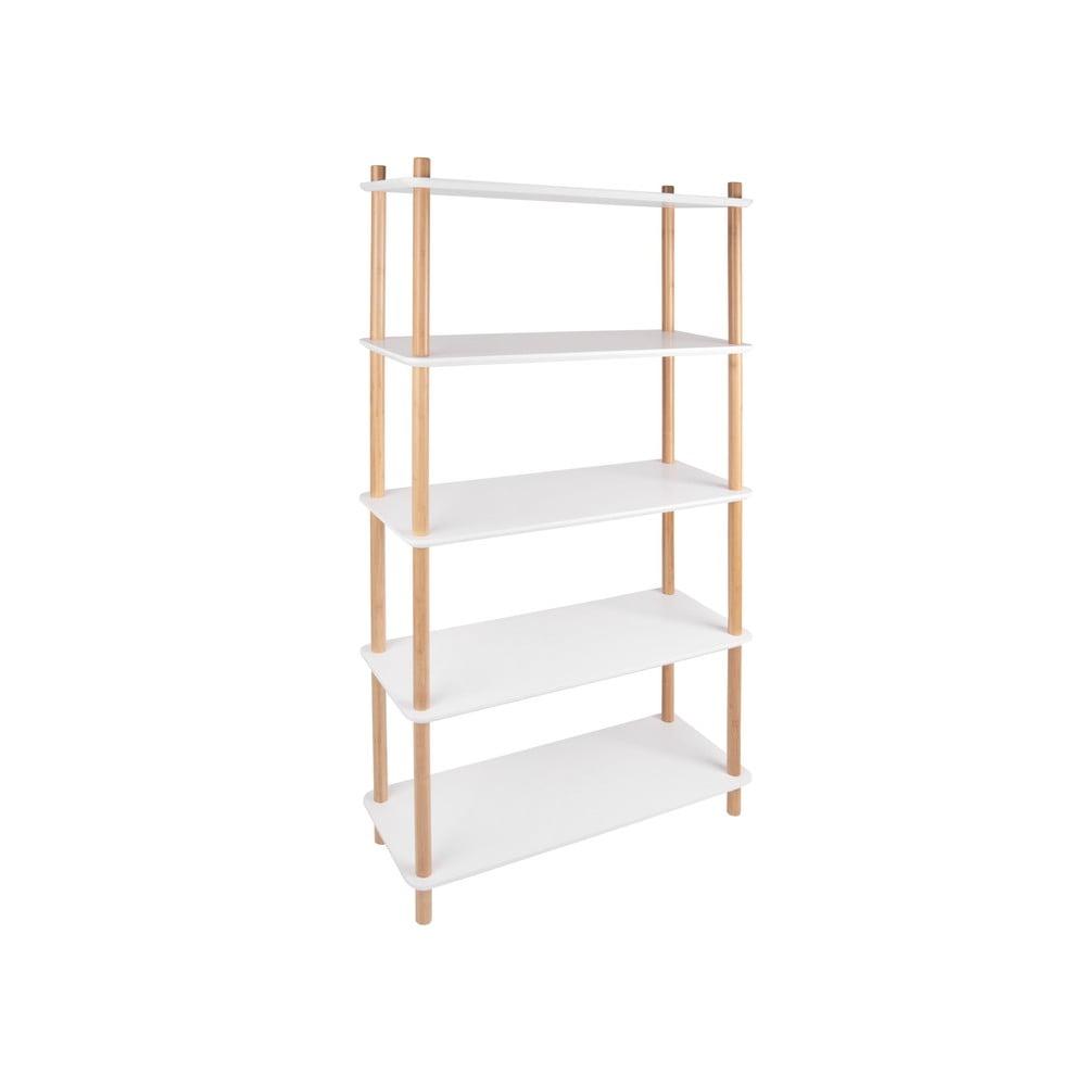 Biała regał z bambusowymi nogami Leitmotiv Cabinet Simplicity
