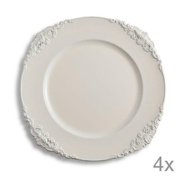 Zestaw 4 talerzy z tworzywa sztucznego Elegance Ivory
