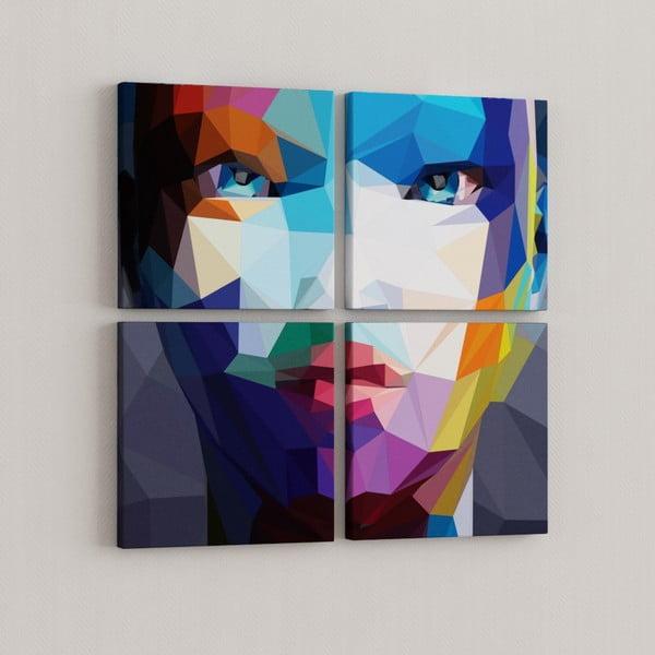 Zestaw 4 obrazów Geometryczna twarz