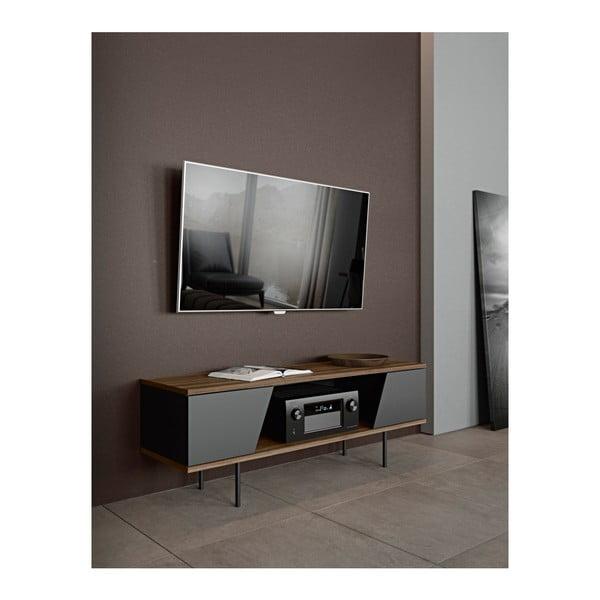 Szafka pod TV w dekorze drewna orzecha z czarnymi detalami TemaHome Dixie