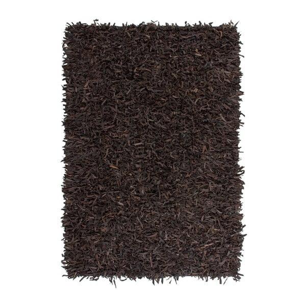 Ciemnobrązowy skórzany dywan Rodeo, 120x170cm