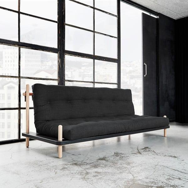 Sofa rozkładana Karup Point, Black/Raw Beech/Dark