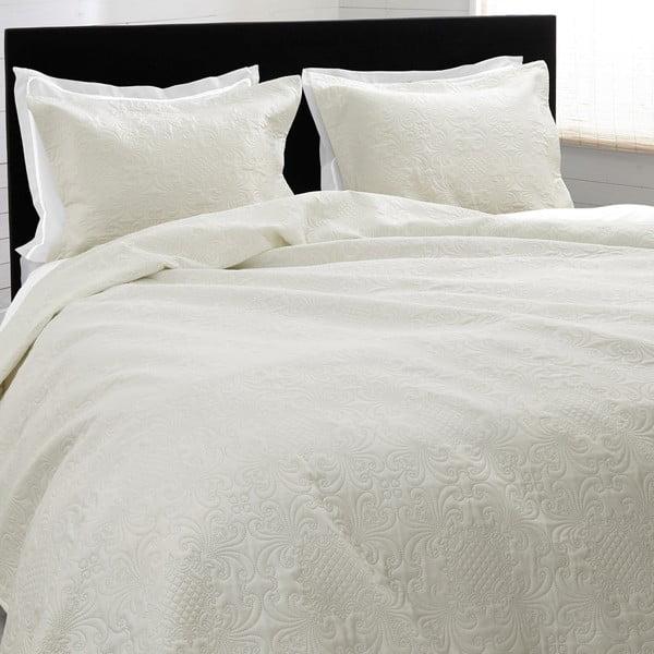 Kremowa narzuta na łóżko z 2 poszewkami na poduszki Clara 260x250 cm