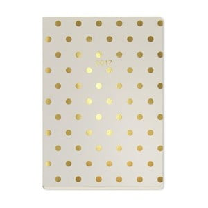 Kalendarz A5 Go Stationery Gold Polka Cream