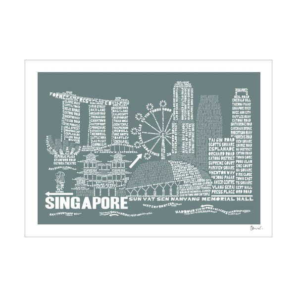 Plakat Singapore Grey&White, 50x70 cm