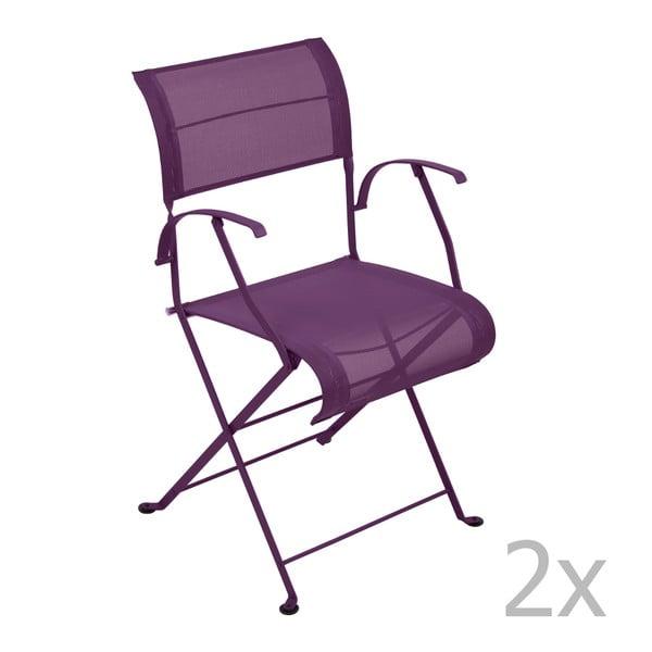 Zestaw 2 fioletowych krzeseł składanych z podłokietnikami Fermob Dune