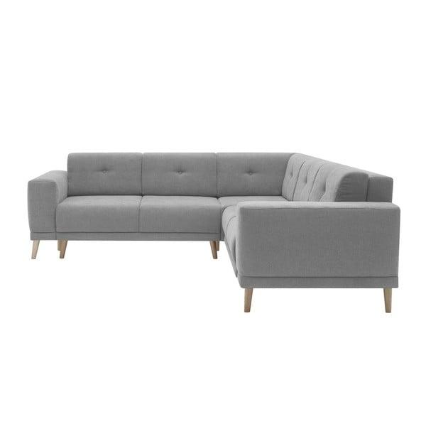 Szara sofa rozkładana z podnóżkiem Bobochic Paris Luna