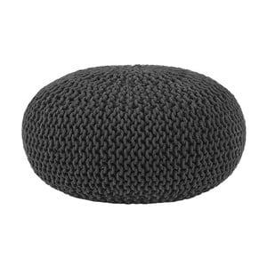 Czarny puf dziergany LABEL51 Knitted , Ø 70 cm
