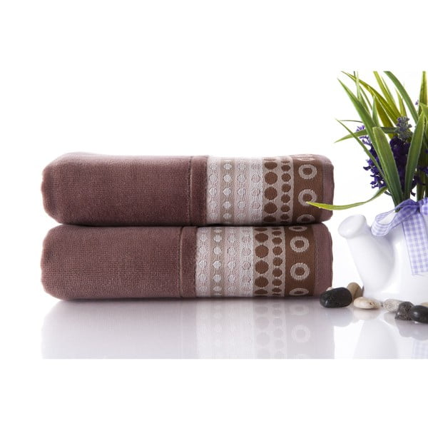Zestaw 2 ręczników Golf Brown, 50x90 cm