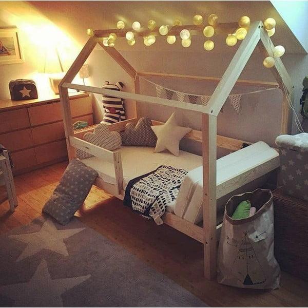 Białe łóżko z wysokimi nóżkami Benlemi Tery, 80 x 200 cm, wysokość nóżek 20 cm