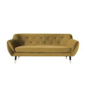 Musztardowa sofa 3-osobowa z czarnymi nogami Mazzini Sofas Amelie