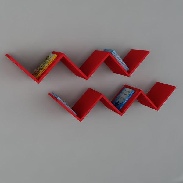 Półka Zig Zag Red, 22x129x50 cm