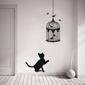 Naklejka dekoracyjna na ścianę Kot i ptaszki