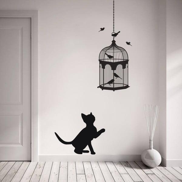 Naklejka ścienna Kot i ptaki, 90x60 cm