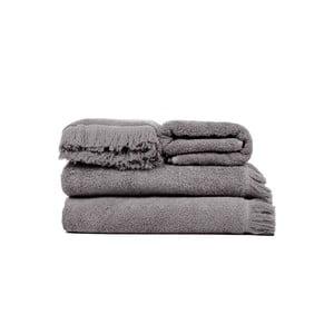 Zestaw 2 szarych ręczników kąpielowych i 2 ręczników Casa Di Bassi Soft