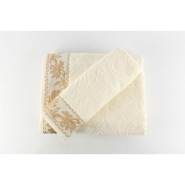 Komplet 2 ręczników Asu Cream, 50x90 cm + 90x150 cm