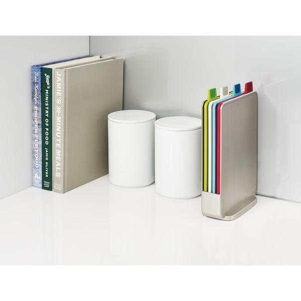 Szary stojak z 4 deskami do krojenia Joseph Joseph Index Index,15x20,5cm