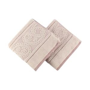 Zestaw 2 pudrowych ręczników Hurrem, 50x90 cm