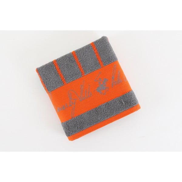 Ręcznik bawełniany BHPC 50x100 cm, pomarańczowo-szary