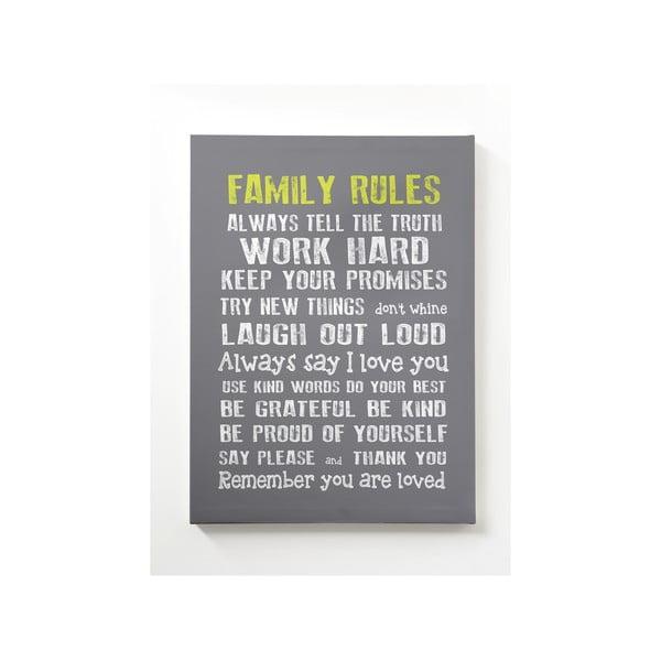 Obraz na płótnie Family Rules, 50x70 cm, biały