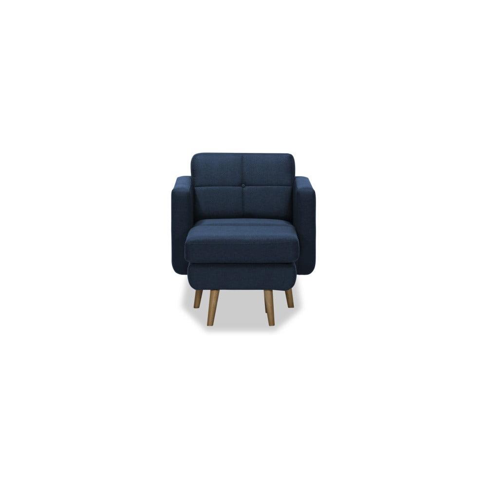 Ciemnoniebieski fotel z pufem Vivonita Magnus