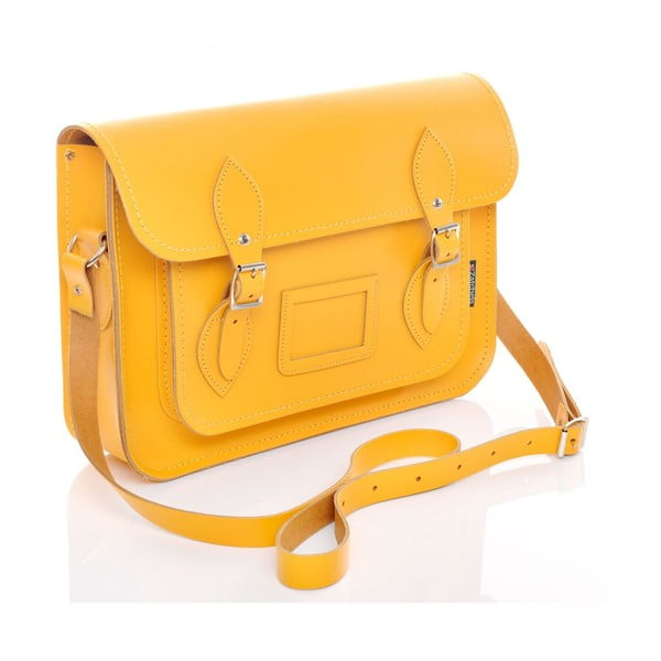 Skórzana torebka Satchel 40 cm, żółta