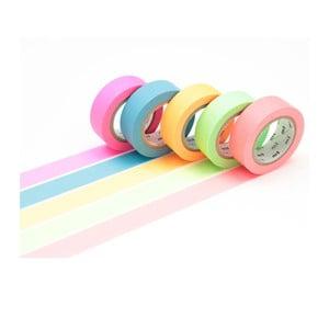 Zestaw 5 taśm dekoracyjnych washi Neon