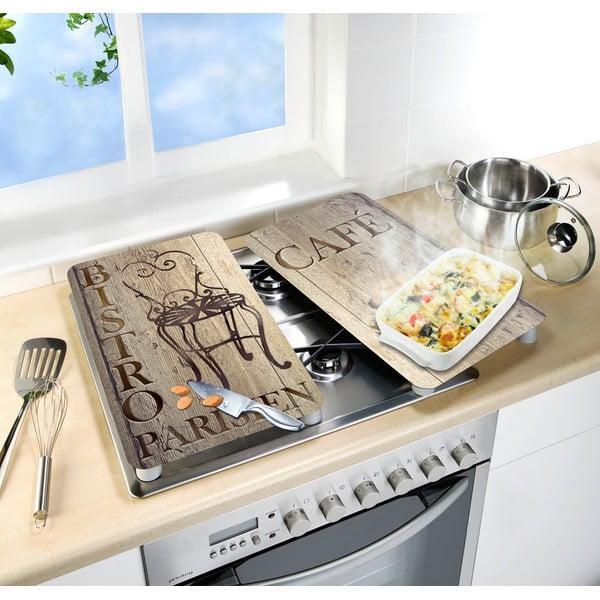 Zestaw 2 szklanych płyt ochronnych na kuchenkę Wenko Bistro, 52x30cm