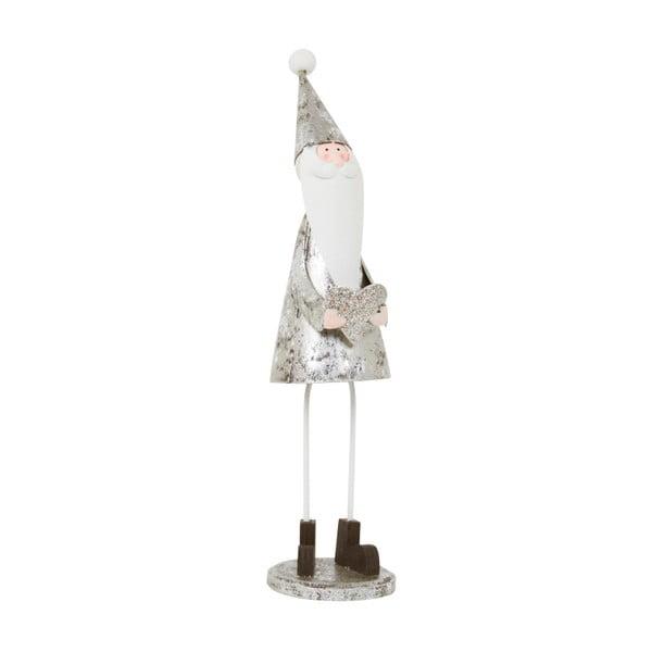 Dekoracja Archipelago Silver Santa With Glitter Heart, 21,5 cm