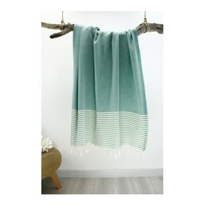 Ręcznik hammam Marine Style Green & White, 100x180 cm