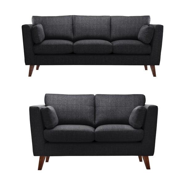 Czarny zestaw 2 sof dwuosobowej i trzyosobowej Jalouse Maison Elisa