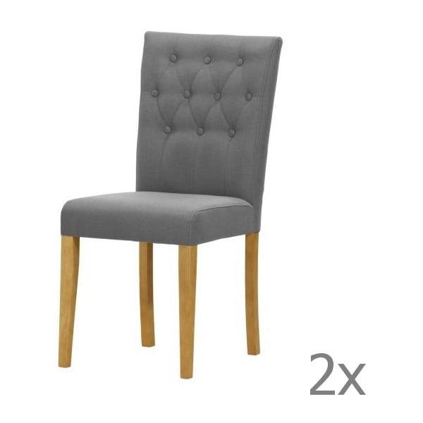 Komplet 2 krzeseł Monako Etna Dark Grey, naturalne nóżki