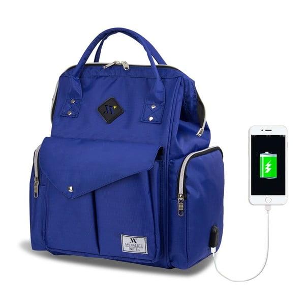 Niebieski plecak dla mam z USB My Valice HAPPY MOM Baby Care Backpack