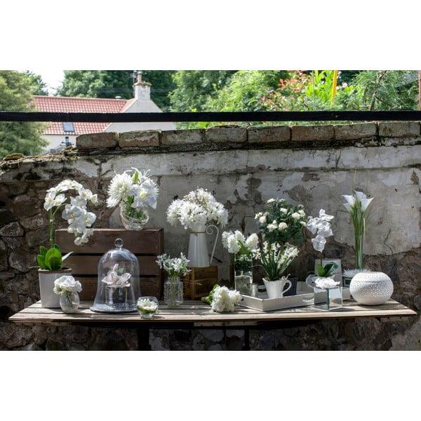 Szklany wazon ze sztucznymi kwiatami Sweetpea, 33 cm