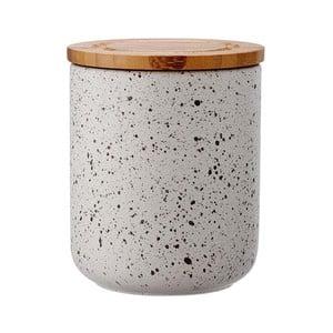 Szary pojemnik ceramiczny z bambusowym wieczkiem Ladelle Speckle, wys. 13cm