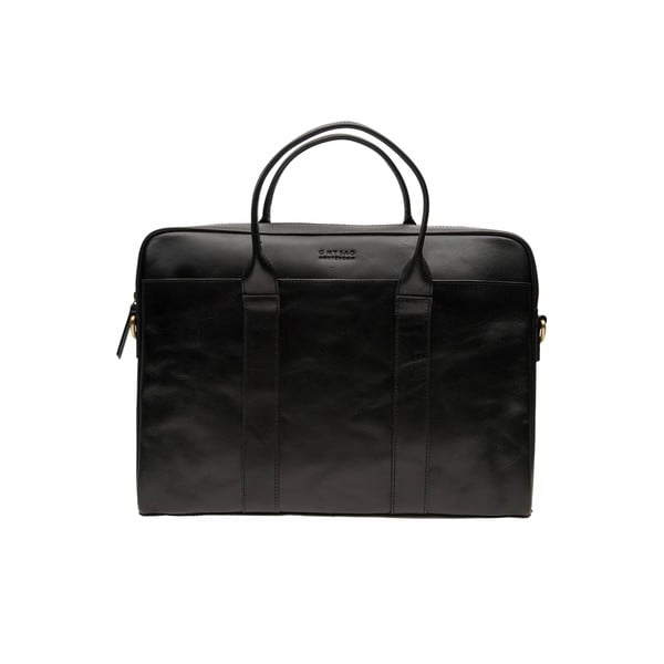 Skórzana torebka na laptop The Harvey, czarna