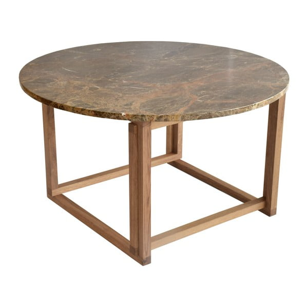 Brązowy stolik marmurowy z dębową konstrukcją RGE Accent, ⌀85cm