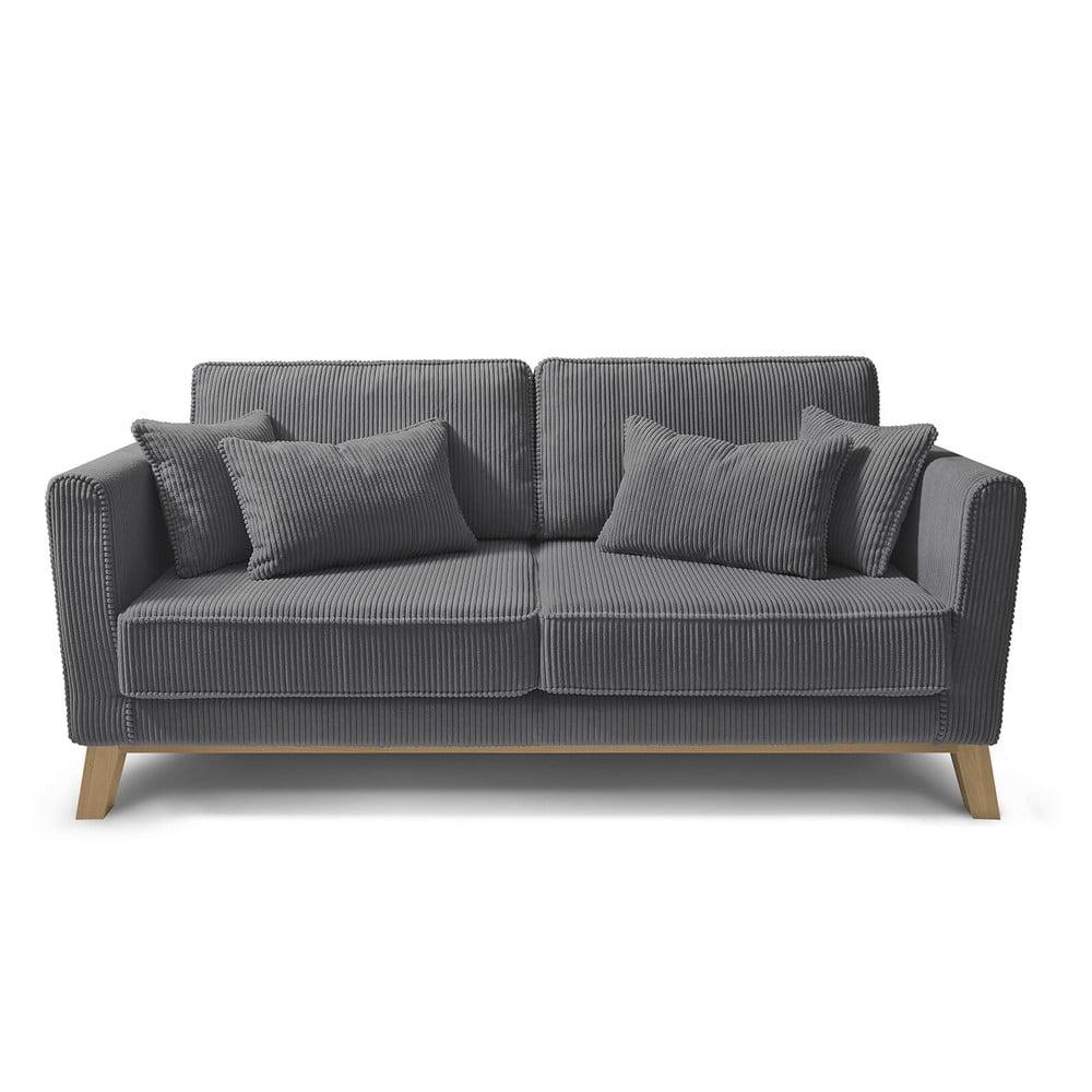 Ciemnoszara sztruksowa sofa Bobochic Paris Doblo